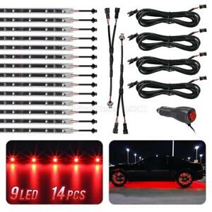 14pc Led Under Car Glow Underbody Shine Lights Bar Strip Kit Red 9 3528 smd