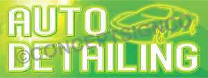 1 5 x4 Auto Detailing Banner Outdoor Sign Car Wax Wash Vehicle Detail Neon Look