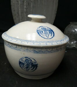 Blue White Decorated Crock Bowl Matching Lid No Makers Mark Or Chips Clean