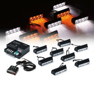 Xprite White Amber 32 Led Strobe Flash Warning Lights Vehicle Side Marker Flash
