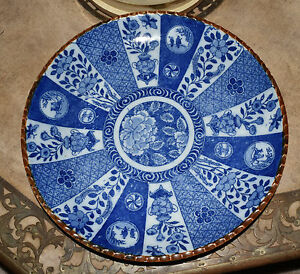 Antique Vtg Japanese Or Chinese Blue White Porcelain Charge Plate Bowl Signed