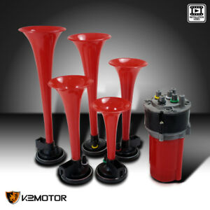 5pcs Trumpets Musical Dukes Of Hazzard Dixie Horn Kit 125db Air Compressor Red