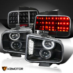 05 09 Mustang Black Halo Projector Headlights sequential Led Signal Tail Lamps