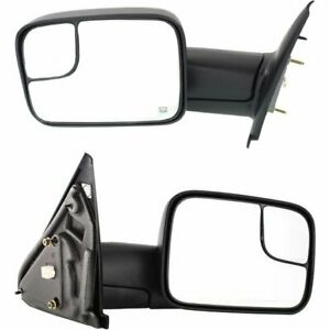 Pair Power Towing Mirrors Rh Lh For 02 08 Dodge Ram 1500 Truck Manual Folding