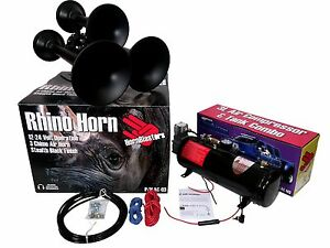 Hornblasters Rhino 12v 3liter Black Train Horn Kit Stop You In Your Tracks Loud