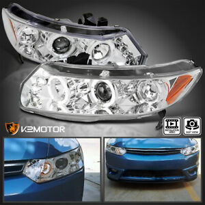 For 2006 2011 Honda Civic 2dr Coupe Halo Led Projector Headlights Chrome Clear
