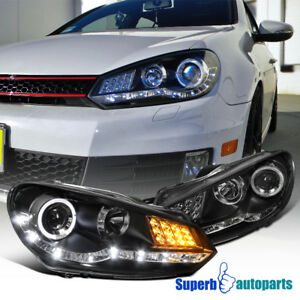 For 2009 2012 Golf Gti R8 Style Smd Led Signal Halo Projector Headlights Black