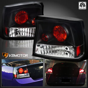 2005 2008 Dodge Charger Black Tail Lights Rear Brake Lamps Pair Replacement
