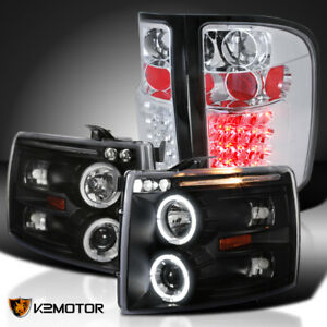 07 14 Chevy Silverado 1500 Black Halo Projector Headlights clear Led Tail Lamps