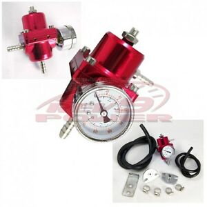 Fuel Pressure Regulator With Gauge Red