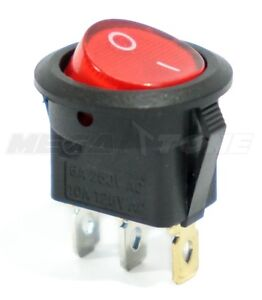 Spst 3 Pin On off Round Rocker Switch W Red Neon Lamp 10a 125vac Usa Seller