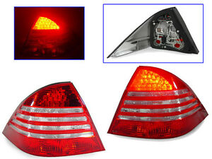 Depo Rear Red Clear Led Tail Lights For 2000 2006 Mercedes Benz W220 S class