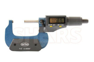 Shars 1 2 Digital Digit Micrometer 001mm 00005 Flat Spindle New
