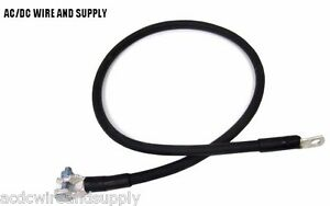 2 Ft 2 Gauge Top Post Negative Battery Cable Made In Usa