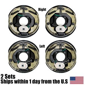 4pk Electric Trailer Brake 10 X 2 25 Assembly Right Left Side 3500 Lb Axles