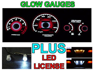 Type R Red Glow Gauge Led License Bulbs For 96 00 Honda Civic