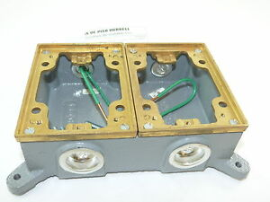 Hubbell B4214 Floor Box Cast Iron Shallow Two Gang New
