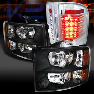 07 14 Silverado 1500 2500 3500hd Black Headlights Clear Led Tail Lamps