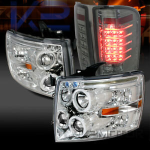 07 14 Silverado Chrome Dual Halo Projector Headlights Smoke Led Tail Lamps