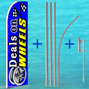 Deals On Wheels Flutter Flag Pole Mount Kit Tall Curved Feather Swooper Banner