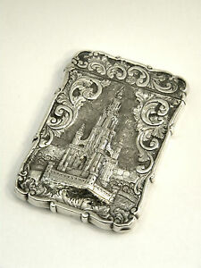 Antique Victorian Solid Silver Castle Top Card Case Birm 1852 Scott Memorial