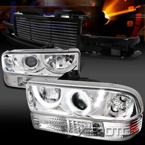 98 04 Chevy S10 Blazer Chrome Led Projector Headlights Bumper Lamps black Grille