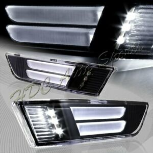 For 2003 2007 Infiniti G35 Coupe Black Led Strip Front Bumper Side Marker Lights