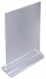 4 X 5 Acrylic Sign Holder For Tabletops Top Insert T style Clear 19015