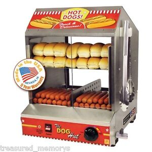 The Dog Hut Hotdog Steamer Merchandiser Bun Warmer Cooker Grill Machine New