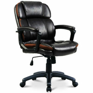 Ergonomic Pu Leather Mid back Executive Computer Desk Task Office Chair New