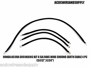 Honda Acura Grounding Kit 6 Gauge Wire Ground Earth Cable 4 Pc 3 12 1 24