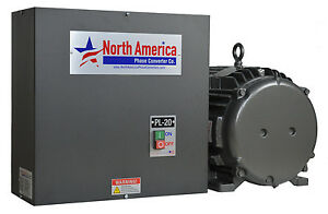Pl 20 t Pro line 20hp Rotary Phase Converter Tefc Idler Motor By Baldor Usa