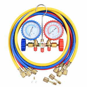 R410a R22 Manifold Gauge Set Ac A c 5ft Color Hose Air Conditioner Hvac 60 New