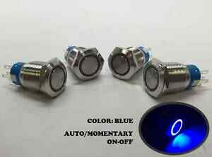 4 Of Marine Ss304 Blue Led 12v Flush Light Auto On off Push Switch Ring Button