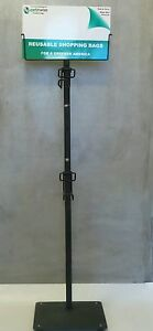 Metal 2 Arm Shopping Bag Display Stand Holder Rack W Sign Trade Show Earthwise