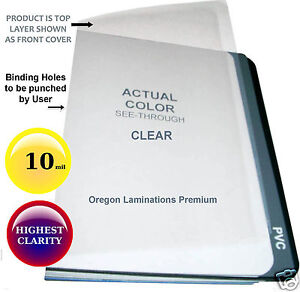 10 Mil 11 X 17 Clear Binding Covers 100 Unpunched 11x17 Plastic Sheets