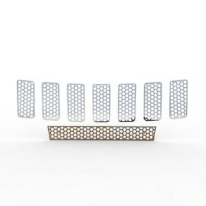 Grille Insert Guard Circle Punch Polished Stainless Fits 11 13 Jeep Cherokee