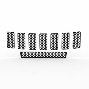Grille Insert Guard Circle Punch Black Fits 11 13 Jeep Cherokee