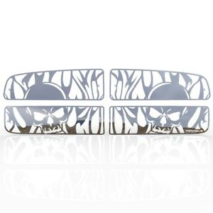 Grille Insert Guard Skull Flame Polished Stainless Fits 02 05 Dodge Ram 1500 Hc
