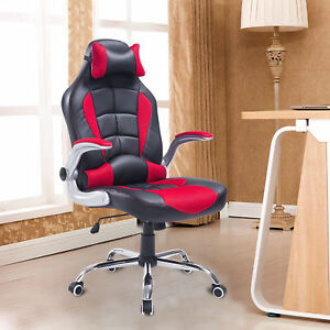 Pu Swivel Racing Car Style Office Gaming Chair Recliner Computer Seat Red