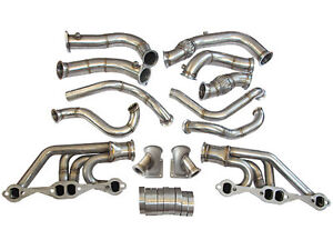 Cxracing Twin Turbo Header Manifold Downpipe Kit For 63 67 Chevelle Nova Sbc V8