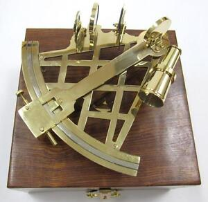 Nautical Marine Navigation 10 Solid Brass Sextant Instrument With Wood Box New