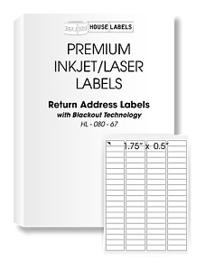 800 Sheets 64000 Labels Blackout 1 75x0 5 Fast Peel 80up Return Address Labels