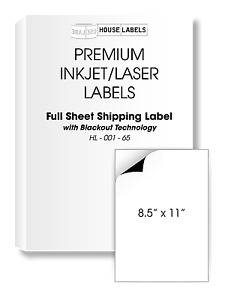 25 Full Sheet Blackout Fast Peel 1 Up 8 5 X 11 White Shipping Labels