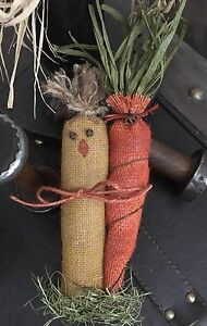 Primitive Easter Spring Chicken Chick Burlap Carrot Rusty Wire Bells Bowl Filler