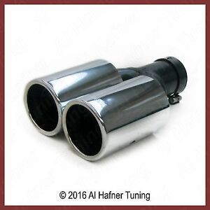 Chrome Round Exhaust Tips 48 55mm