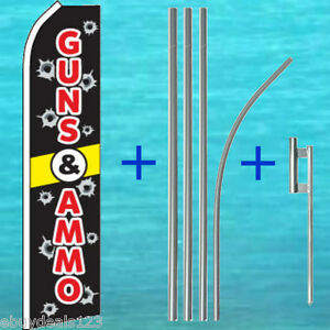 Guns Ammo Flutter Flag 15 Tall Pole Mount Kit Swooper Feather Banner 3089