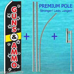 Guns Ammo Flutter Flag 15 Premium Pole Mount Kit Feather Swooper Banner