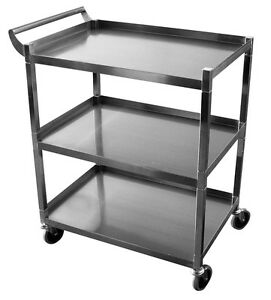 Ace Stainless Steel Bus Cart 250lbs Cap 15 5 w X 26 5 l X 34 h Knock down C 31k