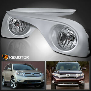 For 2011 2013 Toyota Highlander Clear Lens Bumper Driving Fog Light Bulbs Switch